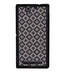 Fuson Premium 2D Back Case Cover Purple colour Hexagon pattern With black Background Degined For Sony Xperia C3 Dual D2502::Sony Xperia C3 D2533