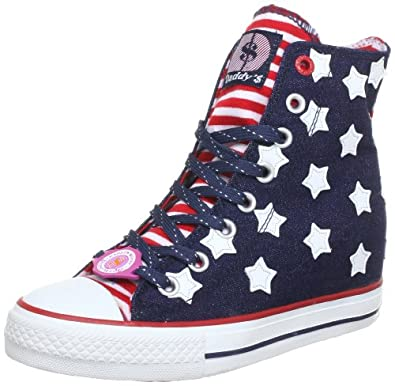 Skechers Women's Gimme Sneaker - Navy blue with white stars and red stripes American flag patriotic shoes
