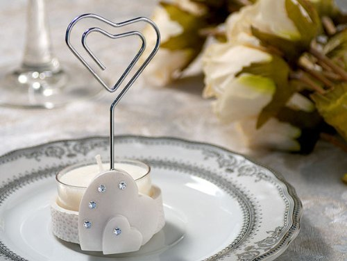 Place Card Holder Candle Holder Includes T-Light Heart Wh (Set of 12) - Wedding Favors