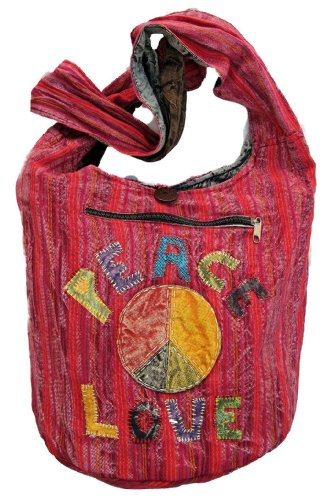 Peace Love Red Hippie Handbag Purse