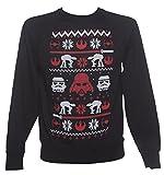 Star-Wars-Fair-Isle-Strick-Look-Herren-Weihnachtspullover-Schwarz