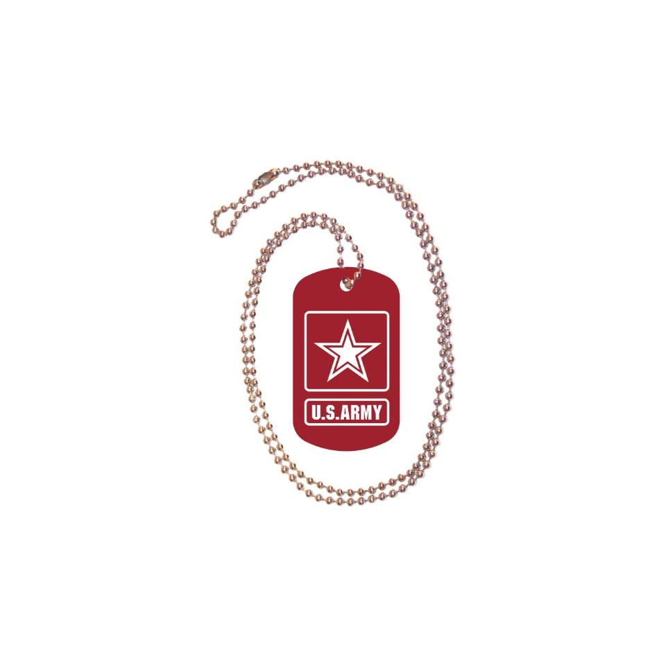 U.S. Army Logo Red Dog Tag with Neck Chain