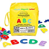 Classic Collection Of 100 Wooden, Magnetic Letters - 1 Upper Case and 3 Lower Case Sets - Great For Preschool Reading, Writing and Spelling - Play ABC Phonics Games With This Durable, Brightly- Colored Early Learning, Educational Toy!