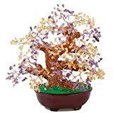 SUNYIK Amethyst & Citrine Money Tree Bonsai Tumbled Crystal Lucky Fengshui Healing Decoration 8 Inch