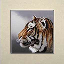 King Silk Art 100% Handmade Embroidery African Tiger Profile Chinese Print Unframed Wildlife Animal Painting Gift Oriental Asian Wall Art D¨¦cor Artwork Hanging Picture Gallery 34146W