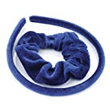 Royal Blue Velvet Fabric Covered Alice Band and Scrunchie Hair Band Set