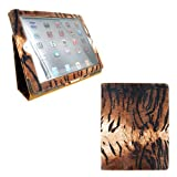 Portfolio Leather Case for iPad 2 2nd Generation Animal Series - [TIGER Print] with Built-in Stand + Screen Protector