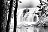 (24x36) Beautiful Waterfall Black and White Photo Art Print Poster