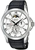 Seiko SRX003 Mens Premier Kinetic Direct Drive Moonphase White Dial Black Leather Watch