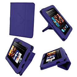 rooCASE Origami Dual-View (Purple) Vegan Leather Folio Case Cover for Amazon Kindle Fire HD 7 Inch Tablet  - Support Landscape / Portrait / Typing Stand / Auto Sleep and Wake
