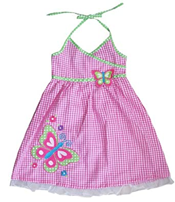 Sunny Fashion Baby Girls Dress Striped Halter Plaid Butterfly 6-12 Month