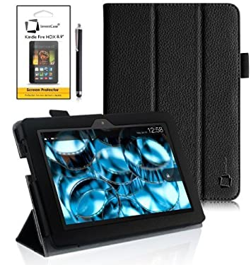 """Amazon Kindle Fire HDX 8.9 inch 8.9"""" 2013 (ALL Model Versions - 16GB, 32GB & 64GB Wi-Fi + 4G LTE) Multi-Function Leather SMART FOLIO Front & Back Case / Smart Cover / Typing & Viewing Stand / Premium SLIM Flip Case With Magnetic Sleep Sensor & Screen Pro"""