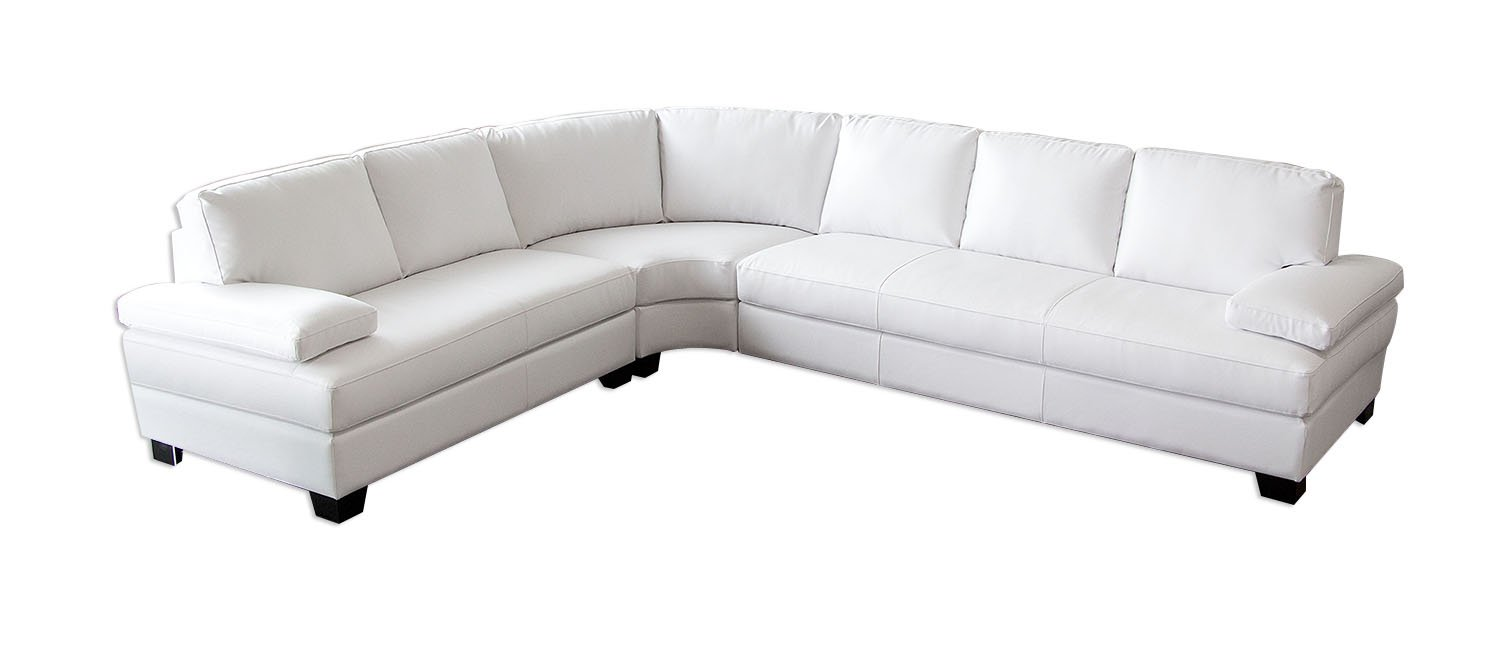 Vanity 3PC Sectional in White Blended Leather by Diamond Sofa