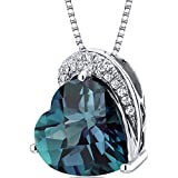 Tilted Heart Shape 4.50 carats Sterling Silver Rhodium Finish Simulated Alexandrite Pendant