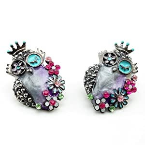 DaisyJewel Owl Earrings: Glossy Gunmetal & Lilac Springtime Steampunk Flower Bouquets of Owls - Skin-Safe - Betsey Johnson Style Inspired - Pearlized Cool Spring & Summer Colors Compliment Each Other in Swirly Enamel and Crystal Encrusted Flowers