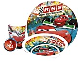 Disney Cars Childs crockery set with plate cereal bowl and cup made of melamine