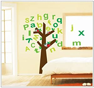 OneHouse Tall Tree with 26 English Letters in Green and Apples Wall Decal by OneHouse