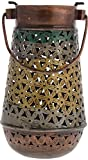 Kapasi Handicrafts Metal Antique Candle Holder (12 cm x 12 cm x 26 cm, Green and Golden)