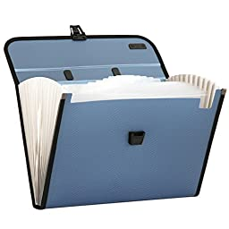 Expanding File Folder,izBuy 12 Pockets PP Document Organizer Waterproof With Handle,Resume Subdivision Accordion File Folder for Documents,A4 Paper,Magazine Etc,13x9.45 Inches,5555(Blue)