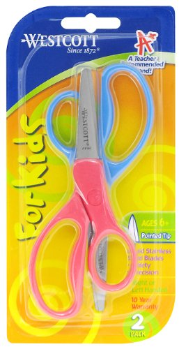 Westcott School Left and Right Handed Kids Scissors, 5-Inch, Pointed, Pack of 2, Assorted Colors (13132) - 1