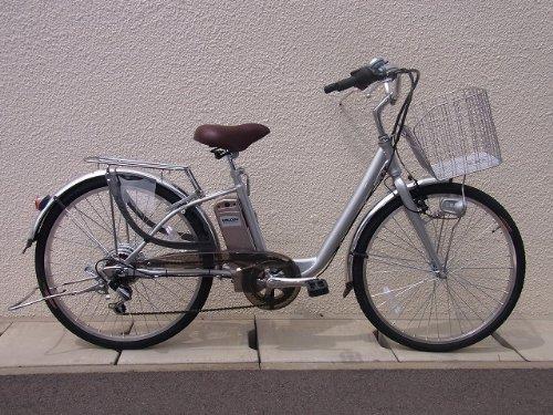 電動アシスト自転車 はやぶさ号 シルバー 26インチ 24ボルト6アンペア リチウムイオンバッテリー