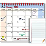 Smart Fish Magnetic Refrigerator Dry Erase Whiteboard Calendar 2016 with FREE Magnetic Fridge Notepad Paper Memo Design- Write and Erase Monthly Calendar Board and Memo Pad