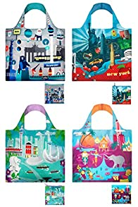 Loqi Urban 4-pack Reusable Shopping Bags