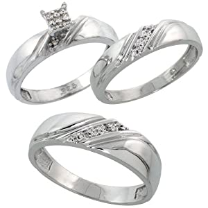 Sterling Silver Diamond Trio Wedding Ring Set His 6mm & Hers 4.5mm Rhodium finish, Ladies Size 8.5