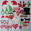 Hip Mall® (Pack of 28) Funny DIY Photo Booth Props Mustache Glasses Snowflake Gifts on a Stick Wedding Birthday Family Christmas Xmas Party