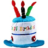 BLUE Cake&3-Candles Kids Birthday Hat Plush Party Hat For Kids/Toddlers(6.5)