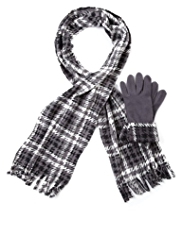 M&S Collection Fleece Checked Scarf & Gloves Set