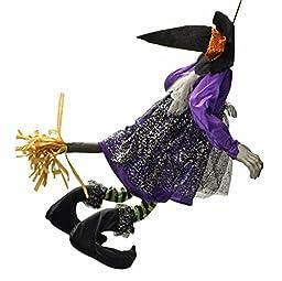Animated Witch Crashing on Broom Halloween Door & Wall Hanger
