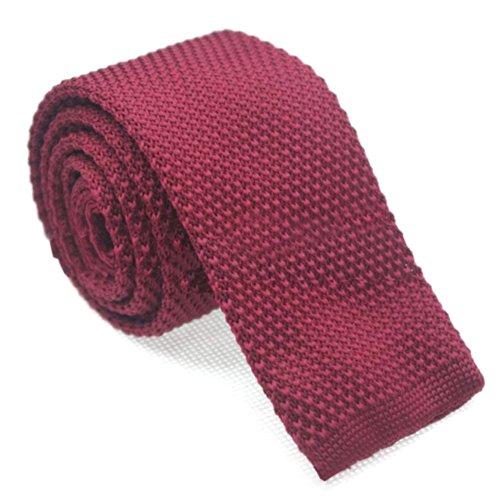 Toptie Men'S Knit Solid Skinny Tie Polyester Square End 2 Inch Necktie Tie Burgundy