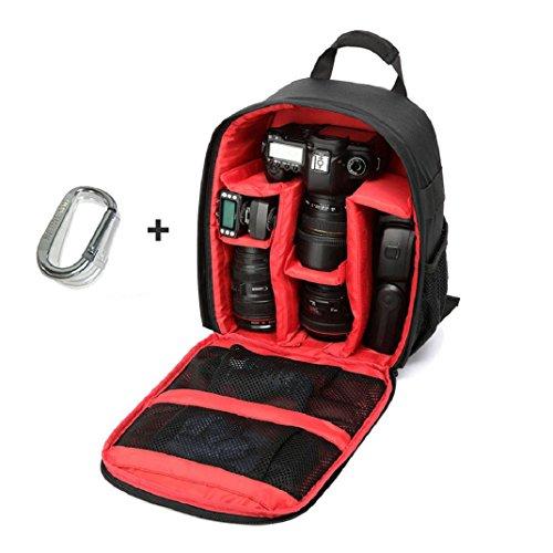 Canon Sony Caméra à Dos, Amison Imperméable DSLR Sac à dos pour Appareil Photo Reflex et accessoires avec Mousqueton Rouge