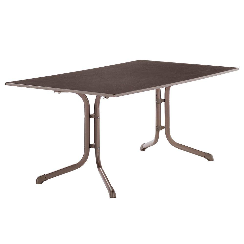 Sieger 1180-70 Boulevard-Tisch mit Puroplan-Platte 165 x 95 cm, Stahlrohrgestell marone, Tischplatte Schieferdekor mocca online bestellen