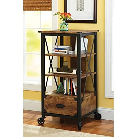 Rustic Country Media Tower, Antiqued Black/Pine Finish for Your Entertainment Center. Great With Your Entertainment Center And Dining Room Furniture Set