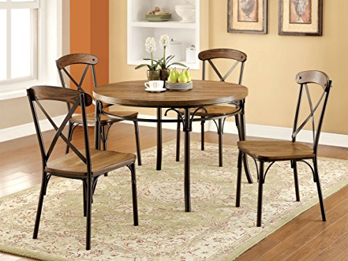 Furniture Of America Rizal Industrial Style Round Dining