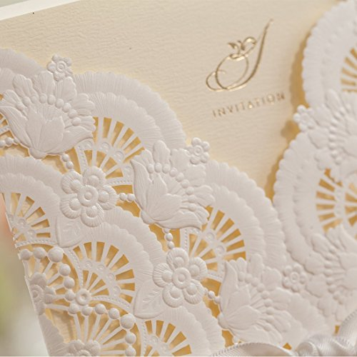 Wishmade 50x Elegant White Laser Cut Wedding Invitations Cards Kits with Lace and Hollow Flowers Card Stock Paper for Birthday Anniversary Baby Shower Graduation Quinceanera(set of 50pcs) CW5111 6