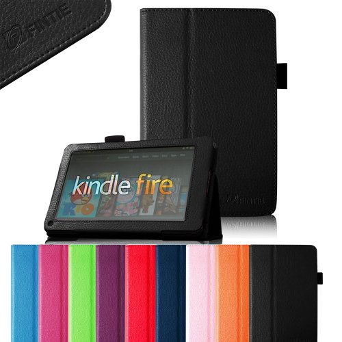 Buy FINTIE (Black) Slim Fit Folio Stand Leather Case for Amazon Kindle Fire 7 Tablet -10 Color Opti...