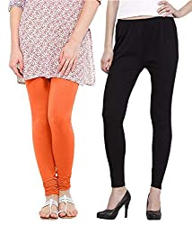 Shiva Collections Women's Cotton Leggings (scsl019_Orange_Free Size)
