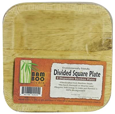 Bamboo Studio 2615 5 Square Inch Plate, 8-Pack, Natural Color