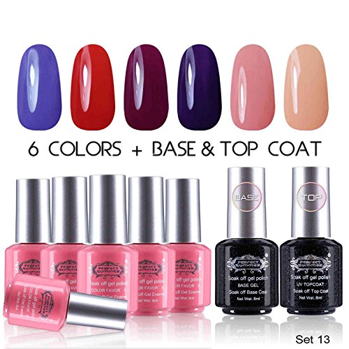 Perfect-Summer-8ml-UV-LED-Soak-Off-Gel-Nail-Polih-Set-Pure-Colors-Collection-with-Base-and-Top-Coat-Pack-of-8