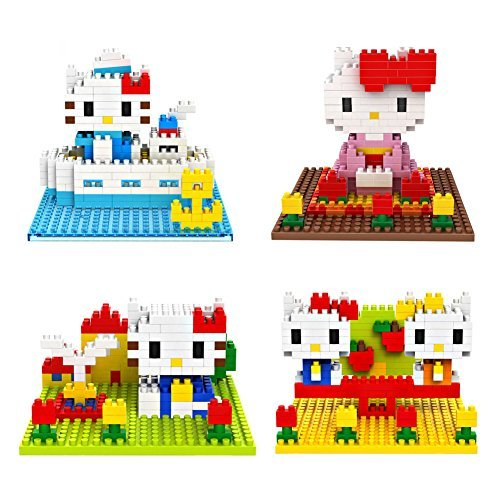 Kitty in Kimono Kitty in Boat - Pack of 2 LOZ Nanoblock Hello Kitty Collection Total 400pcs