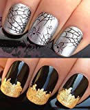 HALLOWEEN WATER NAIL TRANSFERS DECALS STICKERS ART SET #398. PLUS GOLD LEAF SHEET! ARACHNOPHOBIA SPOOKY BLACK WIDOW SPIDERS WEB TRICK OR TREAT! WRAPS & 24KT GOLD! CAN BE USED WITH NATURAL GEL ACRYLIC STICK ON NAILS! OR WITH GLITTER DUST CAVIAR BEADS ALLO