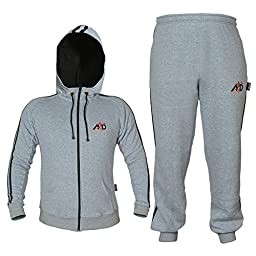 4fit Mens Fleece Track Suit with Hoodie & Bottoms (large, Grey)