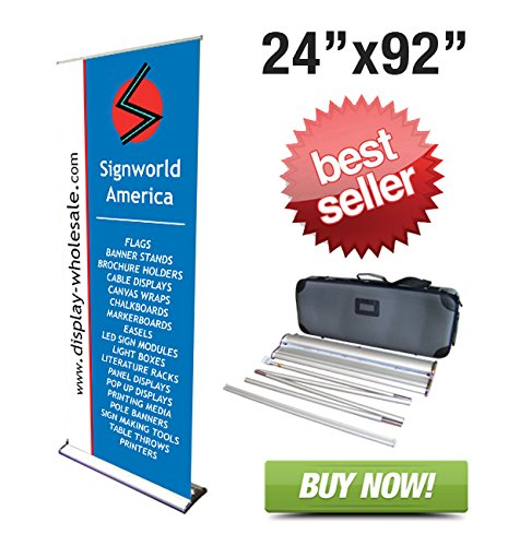 "Signworld 24"" Hd Retractable Roll Up Banner Stand Trade Show Display"