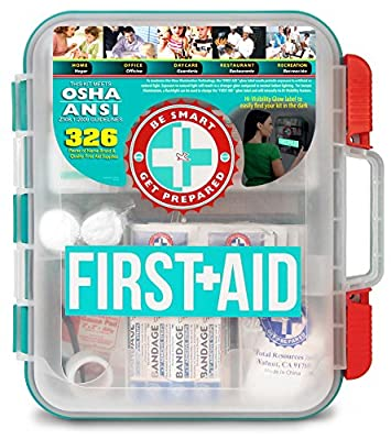 First Aid Kit With Hard Teal Case - 326 Pieces by Total Resources International