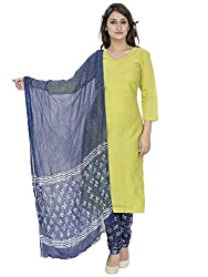 Pinkshink Green Chanderi Salwar Kameez Dress Material k88