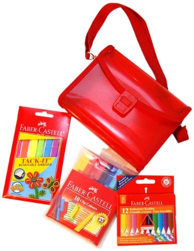 Faber-Castell Mal-Set Umhängetasche für Kinder 12radierbare Kreiden/ ClipColours/ Tack-It-Klebestreifen farblich sortiert