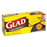 Glad Trash Bags, Large, Drawstring, 15 bags